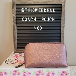 2020 COACH Dusty Pink Metallic Leather Makeup Case